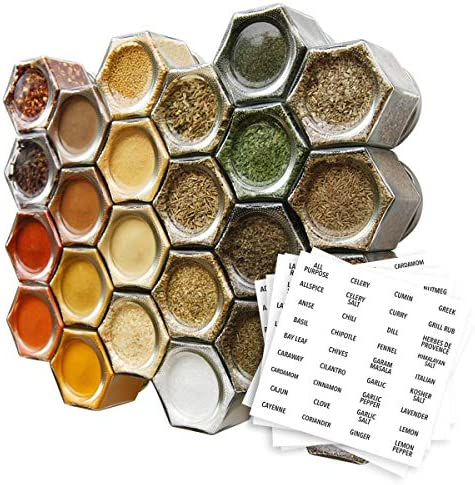 Gneiss Spice Everything Spice Kit 24 Magnetic Jars Filled with Standard Organic Spices Hanging Magnetic Spice Rack Large Jars, Silver Lids