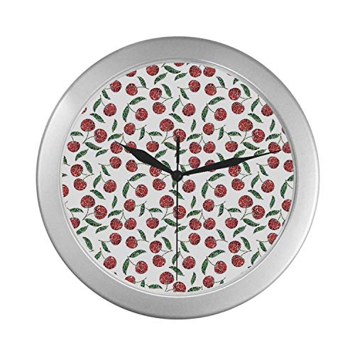 C COABALLA Garden Decor Simple Silver Color Wall Clock,Grunge Mosaic Style Cherries Seasonal Ripe Sweet Fruits Fresh Orchard Harvest for Home Office,9.65