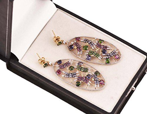 Neerupam collection 925 sterling silver natural gemstone studded dangles earrings for women and girls by Neerupam Collection (Image #1)