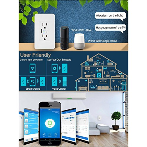 Smart WiFi High Speed USB Charger/USB Charger Wall Outlet (2.0A-5VDC) Dual Outlet Receptacle - Independently Remote Control Duplex Outlet 15A, Wireless Voice Control and Timer Switch with Scheduling by Alysontech (Image #4)