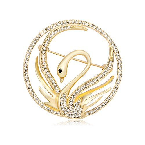 Heart White Gold Brooch - PANGRUI Charm White Diamond Set Golden Swan Brooch Exquisite Round Brooch Pin (gold)