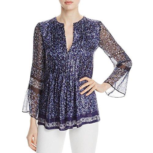 Metallic Silk Blouse - Elie Tahari Womens Orion Metallic Silk Blouse Blue M