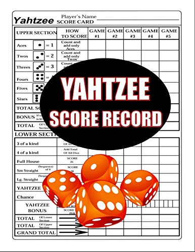 Yahtzee Score Record: 100 Yahtzee Score Sheet, Game Record Score Keeper  Book, Score Card