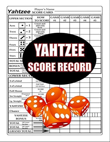 Yahtzee Score Record: 100 Yahtzee Score Sheet, Game Record Score Keeper Book, Score Card