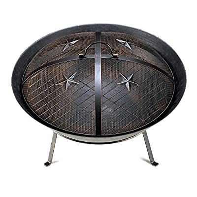Koehler 15284 22 Inch Black Western Stars Fire Pit - Perfect gift for those that love outdoor decor Great craftsmanship Measurement: H: 13 x W: 22 x D: 22 - patio, outdoor-decor, fire-pits-outdoor-fireplaces - 51fe5aBhlkL. SS400  -