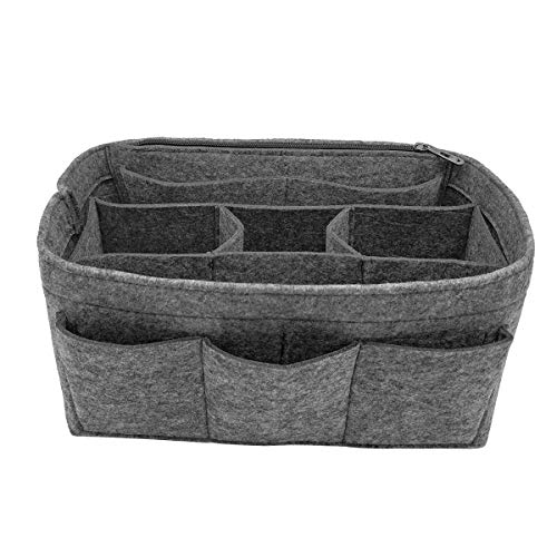 LEXSION Felt Handbag Organizer,Insert purse organizer Structure Shaper fits Speedy 8001 Gray ()