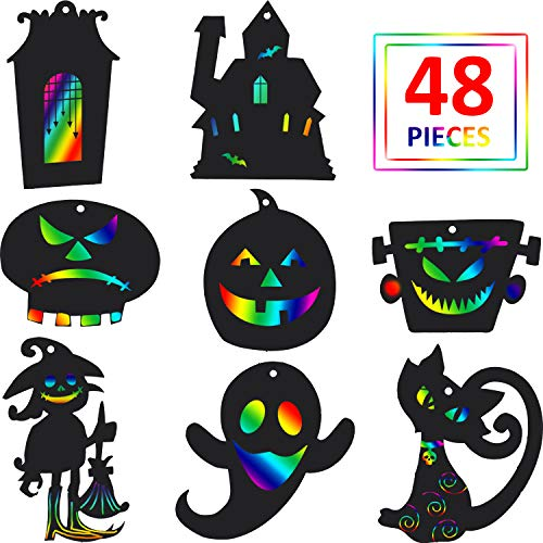 Blulu 48 Pieces Halloween Scratch Paper Rainbow Witch Pumpkin Scratch Crafts Kit Magic Halloween Hanging Ornaments Art with Wooden Stick and Rope for Party Decoration DIY ()