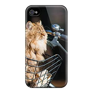 Iphone 4/4s Hard Back With Bumper Silicone Gel Tpu Case Cover Cat On The
