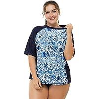 attraco Mujeres Plus Tamaño Rash Guard Rashguard UPF 50+ de manga corta camisa de natación