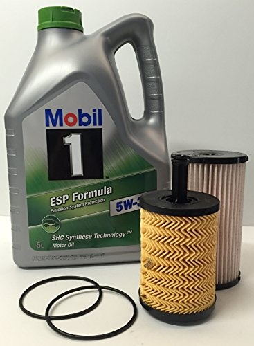 DUO Oil + Filters: MOBIL 1 ESP engine lubricant FORMULA 5W30 5 lts + FRAM oil and fuel filters for VOLKSWAGEN-SEAT-SKODA-AUDI 2.0TDi engine: