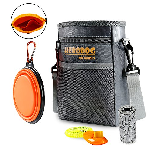 51fe6MhaIGL - Hero Dog Treat Training Pouch Bag(Small Large Pets) - Dual Compartments Carry Toy Kibble,Treats - with Poop Bag,Collapsible Bowl - Build-in Waste Bag Dispenser Grey