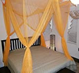 4 Poster Bed Canopy Functional Mosquito Net for Full Queen King Bed (Orange)