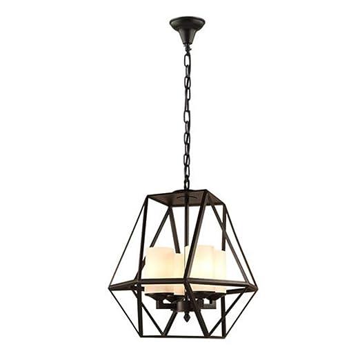 TASGK Lámpara Colgante Industrial Vintage, Luz de La Jaula Arte de ...