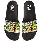 Funny Comic Boom Pattern Summer Slide Slippers For Girl Boy Kid Non-Slip House Sandal Shoes size 2