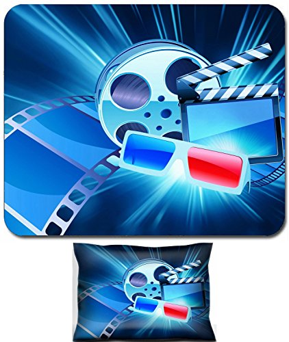 Liili Mouse Wrist Rest and Small Mousepad Set, 2pc Wrist Support Vector illustration of blue abstract cinema background with anaglyph glasses clapperboard and a film reel IMAGE ID 10400851