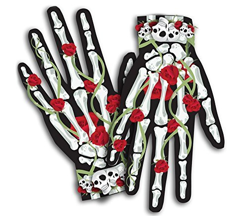 [Day of the Dead Skeleton Halloween Costume Bones n' Roses Female Gloves] (Skeleton Makeup)