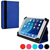 "Cooper Cases (TM) Infinite Universal 7"" - 8"" Tablet Folio Case in Blue (Universal Fit, Pleather Exterior, Foldout Stand, Elastic Strap Closure)"