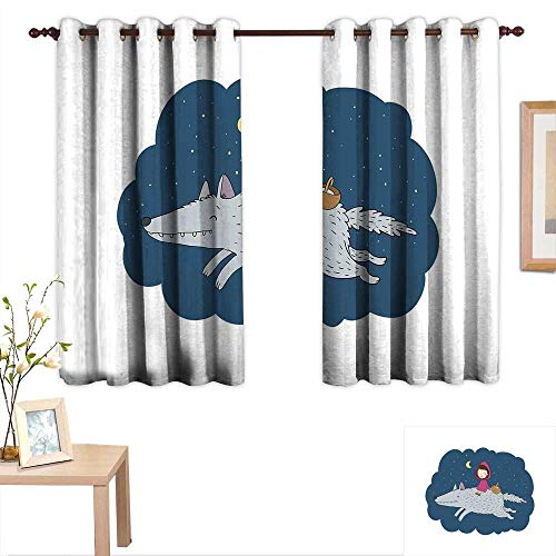 Chateau Basket - Luckyee Kids Decorative Curtains for Living Room Cartoon Kid in a Pink Hood and Basket on a Giant Wolf Running in The Starry Night 55
