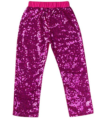 Messy Code Gorgeous Girls Sequin Leggings,HotPink,XXXL(5-6Y) -