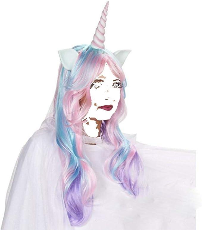 JIAEN Colorido Unicornio Peluca Conjunto Cabello Dibujos Animados ...