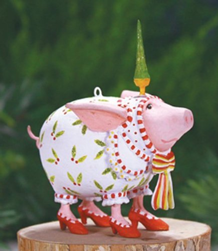 Patience Brewster Christmas Ornaments (Patience Brewster Mini Nanette Dressed Up Pig Christmas Ornament 08-30957)