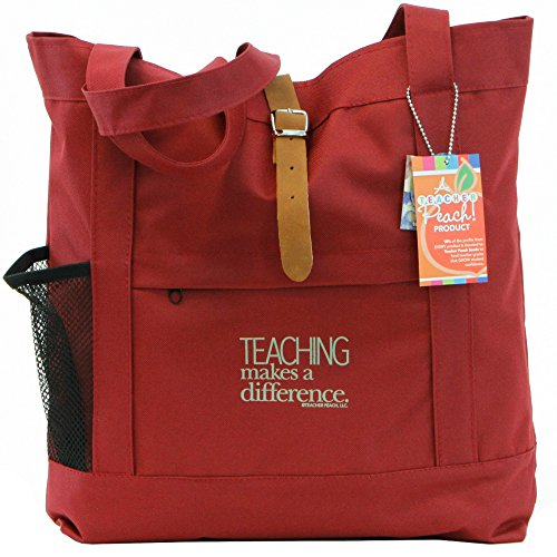 Teacher Peach Fashion Tote Bag - Motivational Handbag with Pockets, Organizers, Zippers, and Water Bottle Holder - Best for Teacher Appreciation, Retirement or New Teacher Gifts for Women - Burgundy