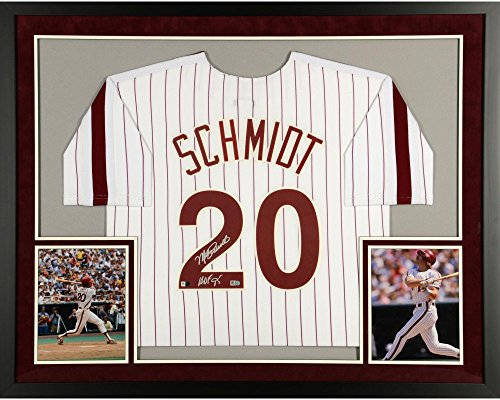 Cooperstown Collection Pin (Mike Schmidt Philadelphia Phillies SM Deluxe Framed Autographed Majestic Cooperstown Collection White Pinstripes Jersey with HOF 95 Inscription - Fanatics Authentic Certified)