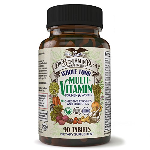 Dr. Benjamin Rush Natural Whole Food Daily Multivitamin for Men & Women All-In-One Non-GMO Superfood Vegetarian - Best for Energy, Brain, Heart and eye health. Antioxidant Vitamin Supplement Size 90ct