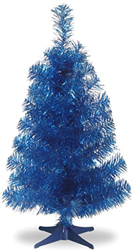 Blue Tinsel Christmas Tree - National Tree 3 Foot Blue Tinsel Tree with Plastic Stand (TT33-707-30-1)