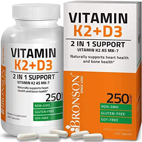 Vitamin K2 (MK7) with D3 Supplement Non-GMO Gluten Free Formula 5000 IU Vitamin D3 & 90 mcg Vitamin K2 MK-7 Easy to Swallow Vitamin D & K Complex, 250 Capsules