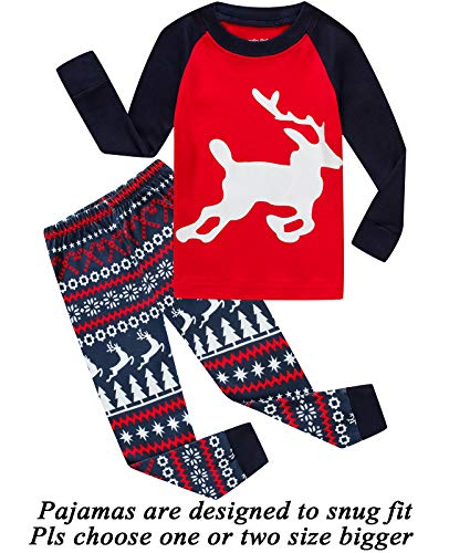 Boys Girls Christmas Pajamas Reindeer Cotton Toddler Clothes Kids Pjs Children Sleepwear Size -