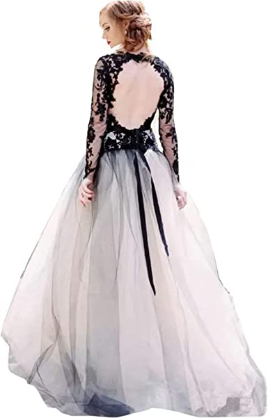Chady Women S Double V Neck Lace Tulle Ball Gown Wedding Dress Backless Long Sleeves Vintage Gothic Bridal Gown At Amazon Women S Clothing Store