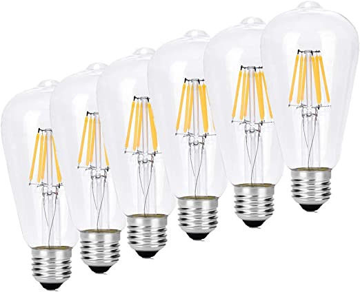 Lemonbest 6 Pack Vintage Light Bulbs Bombilla Edison LED Filamento E27 Bombillas antiguas 4W regulables Bombillas decorativas para iluminación industrial retro: Amazon.es: Iluminación