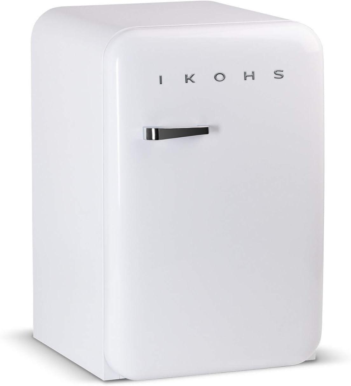 IKOHS Retro Fridge - Frigorífico con diseño, Control de Temperatura Ajustable, Estantes Intercambiables, Estética Vintage de los años 50, Clase Energética A+ (Blanco, 83.5 cm)