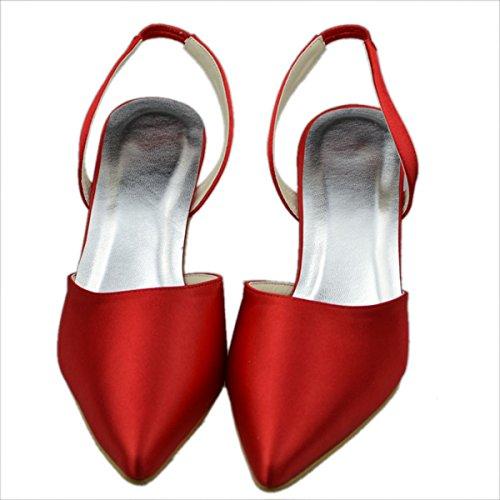 Minitoo - Zapatos destalonados de satén mujer rojo - rojo