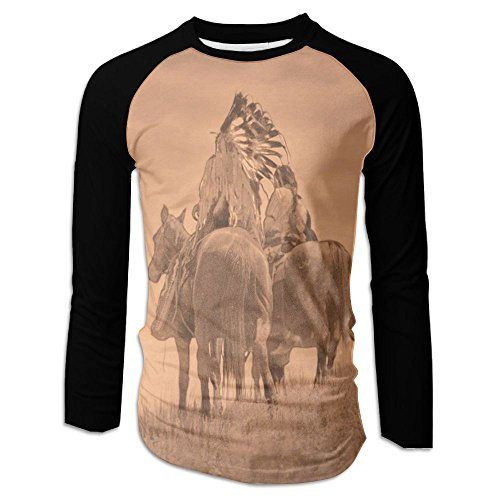 Judian T Shirts For Men Jersey Baseball Tshirt Men Native American Cheyenne Warrior's Back View Long Sleeve - Cheyenne Indian Print