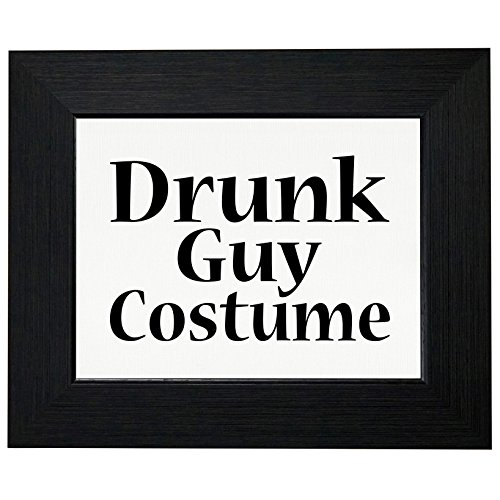 Funny Drunk Guy Costume Framed Print Poster Wall or Desk Mount -
