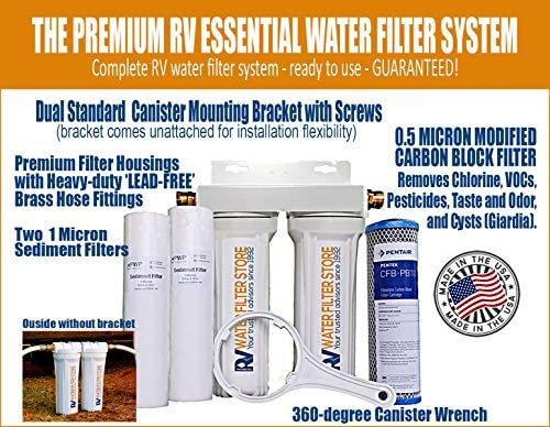 Essential RV Water Filter System with Hose Fittings – Premium RV Water Filtration System with Cyst Removal