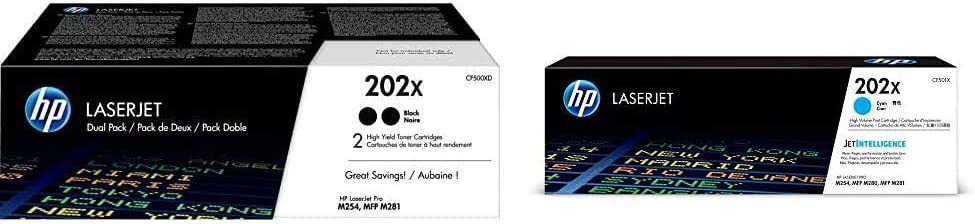 HP 202X | CF500XD | 2 Toner Cartridges | Black | High Yield & 202X | CF501X | Works with HP Laserjet Pro M254, M281cdw, M281dw | Toner Cartridge | Cyan | High Yield