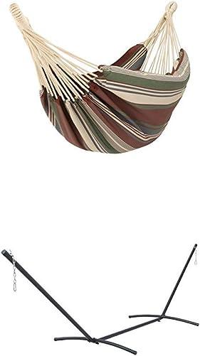 Classic Accessories Montlake FadeSafe Brazilian Hammock, Heather Henna Multi-Stripe with Classic Accessories 14.75-Foot Universal Heavy Duty Outdoor Steel Hammock Stand