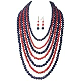 Gypsy Jewels 7 Row Long Layered Imitation Pearl Bead Statement Necklace Earrings Set (Red & Navy Blue)