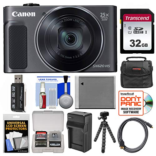Canon PowerShot SX620 HS Wi-Fi Digital Camera (Black) with 32GB Card + Case + Battery + Charger + Flex Tripod + HDMI Cable + Kit