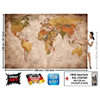Wall Mural - Great Art Wallpaper Used Look - Picture Decoration Globe Continents Atlas World Map Earth Geography Retro Old School Vintage Map Poster Wall Decor (132.3 x 93.7 Inch / 336 x 238 cm)
