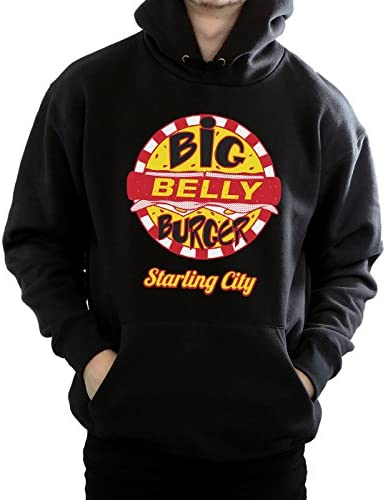 DC Comics Uomo Arrow Big Belly Burger Logo Felpa con Cappuccio Large Nero