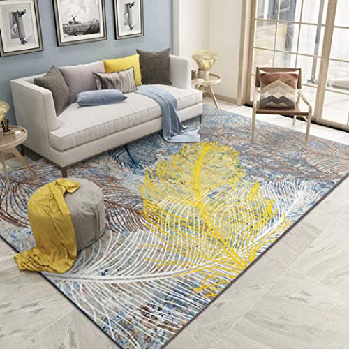 Moktasp Large Area Rug Abstract Feather Pattern Carpet Nordic Rugs Cushioned Comfort Standing Mat Home Decor Pad