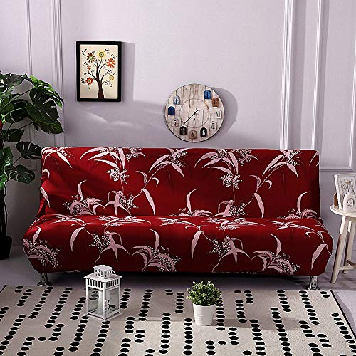Lamberia Printed Futon Cover Armless Stretch Sofa Slipcover Furniture Protector Elastic Spandex Full Folding Couch Sofa Shield fits Folding Sofa Bed (Hot Bloom)