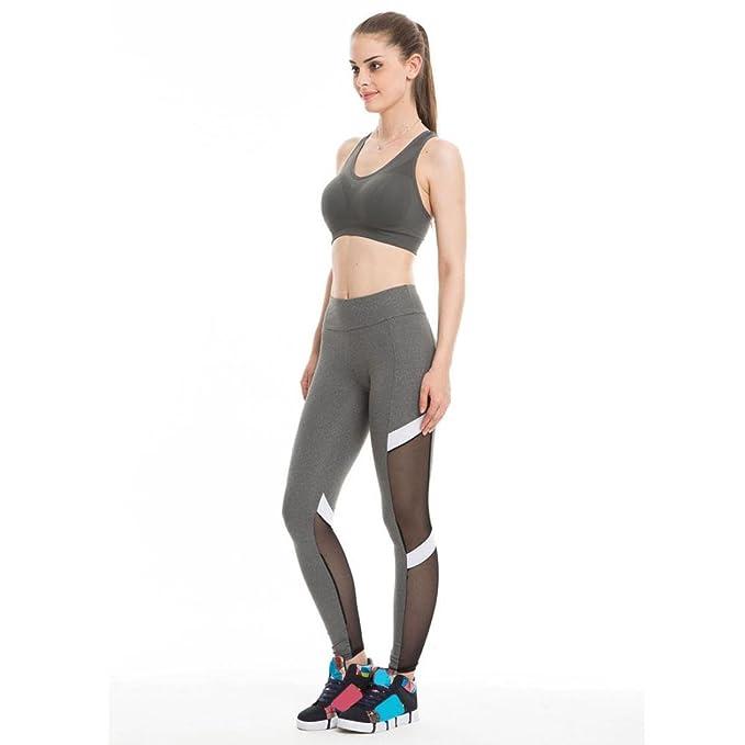 d6db4a370036 Binggong Damen Hosen,Frauen Fitness Sport Leggings Sexy Mesh Patchwork Hohe  Taille Schlank Yoga Hosen