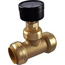 SharkBite 24440 Brass Push-to-Connect Tee with Water Pressure Gauge, 1 by Sharkbite