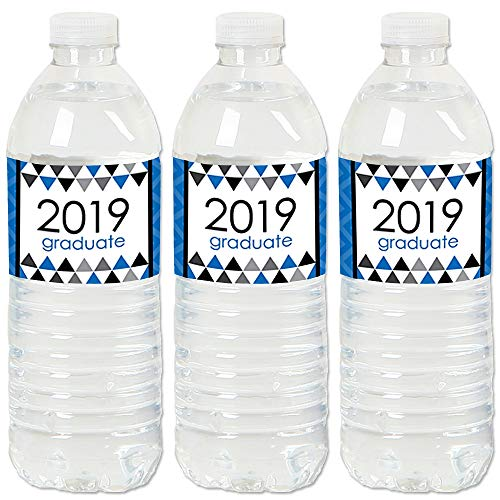 Blue Grad - Best is Yet to Come - 2019 Royal Blue Graduation Party Water Bottle Sticker Labels - Set of 20 -