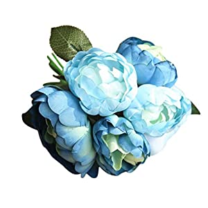 GoodLock 6 Heads Artificial Peony Silk Flower Leaf Home Wedding Decoration Party Home Decor 1 Bouquet 31